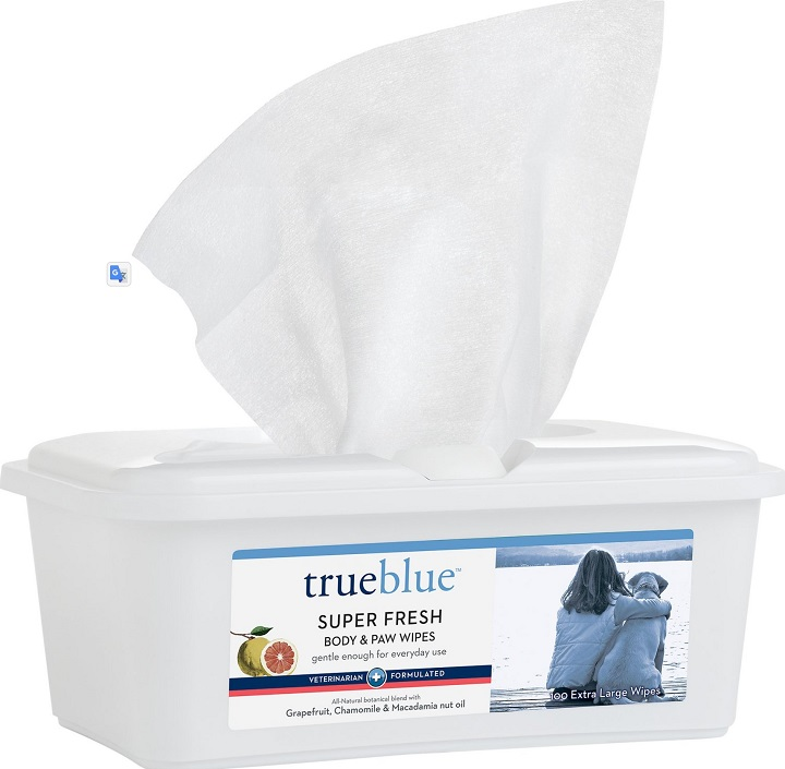TrueBlue Pet Products Super Fresh Body & Paw Wipes, 100 count
